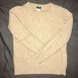🕊 J. CREW Beige Cashmere & Wool Crewneck Sweater